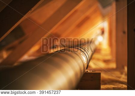 Hvac Industry Theme. Wooden Attic Structure Installed Metal Air Shaft. Pipeline To Distribute Fresh