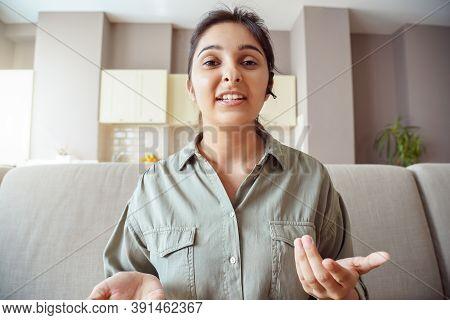 Indian Business Woman Online Teacher, Female Tutor Wear Headset Looking At Camera, Talking, Making B