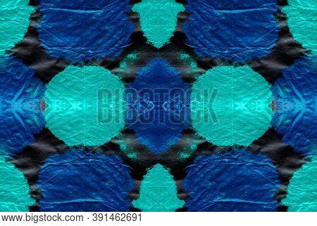 Watercolor Splatter. Boho Crumpled Paper. Handdrawn Aquarel Effect. Blue And Green Colors. Watercolo