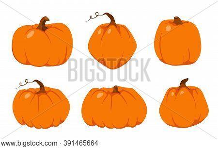 Set Of Autumn Pumpkin Flat Icon. Symbol Thanksgiving And Halloween. Cartoon Different Shape Orange G