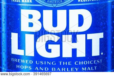 Calgary, Alberta, Canada. Oct 25, 2020. A Close Up To The Bud Light Beer Logo.