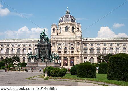 Vienna, Austria - July 31, 2019: Maria-theresien-platz (maria Theresa Square), Monument To Austrian