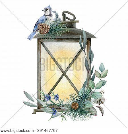 Winter Lamp With Christmas Arrangement Watercolor Illustration. Hand Drawn Festive Floral Arrangemen