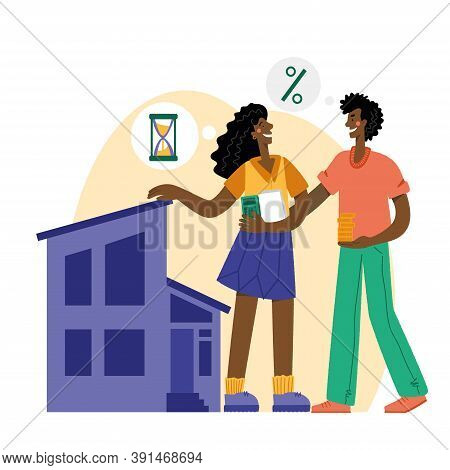 Black Woman And Man Buying A House With A Mortgage. The Family Buys A House With A Mortgage. A Young