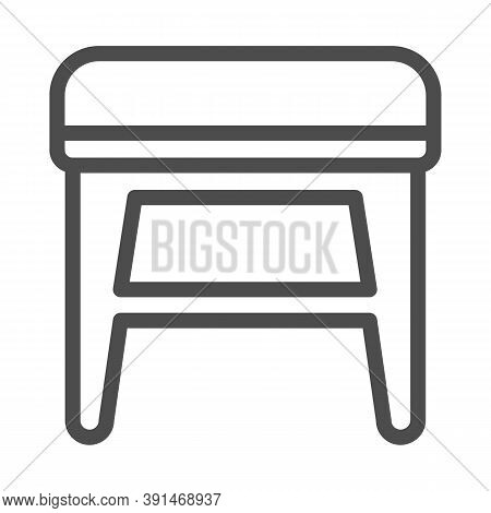 Stool Line Icon, Furniture Concept, Soft Backless Seat Sign On White Background, Stool With Four Leg