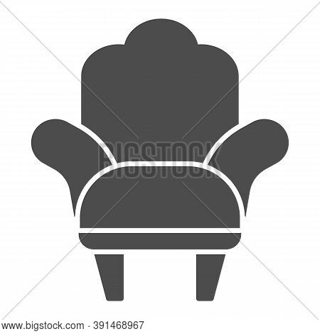 Armchair Solid Icon, Furniture Concept, Comfortable Chair Sign On White Background, Armchair With Le