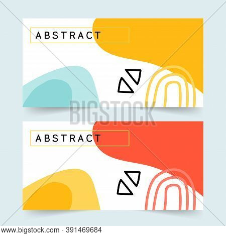Abstract Shapes Creative Banner Templates, Geometric Design, Shapes, Trendy Vector Collection. Moder