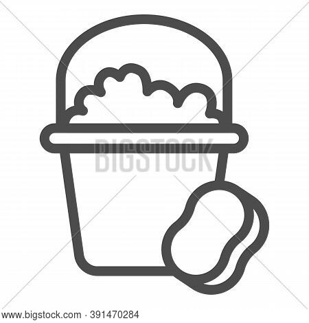 Bucket With Soapy Water And Sponge Line Icon, Cleaning Service Concept, Home Cleaning Tools Sign On