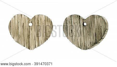 Wooden Heart Forms, Shapes Watercolor Illustration Set. Natural Rustic Heart Decorative Nature Shape