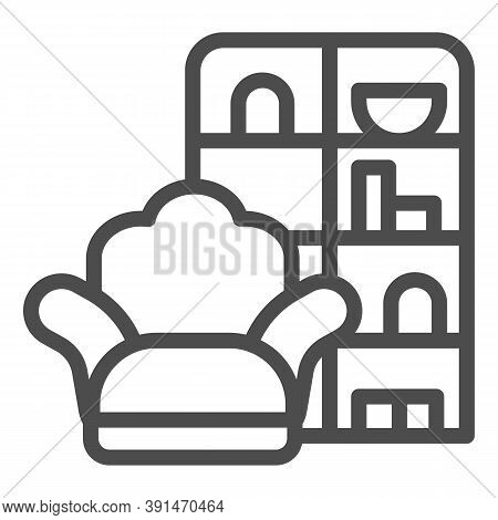 Armchair And Wardrobe Line Icon, Furniture Concept, Living Room Interior Sign On White Background, S
