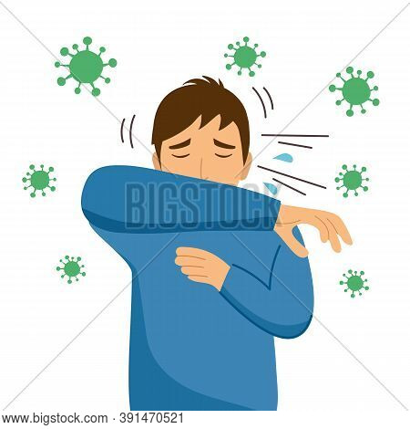 Sneezing Man With Virus Cells Around On White Background. A Man Using Arm Covering His Nose And Mout