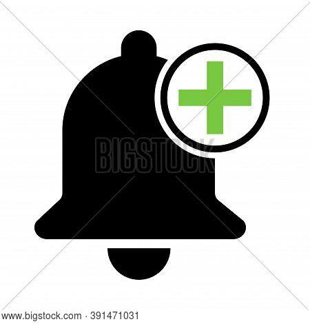 Bell Alert Icon Isolated On White Background, Black Alarm Vector Illustration Symbol, Ring Web Signa