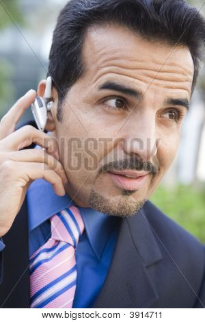 Middle Eastern Business Man Using