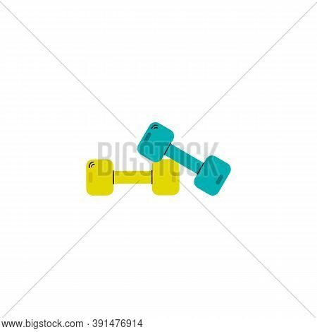 Pair Of Blue And Yellow Dumbbells For Power Sport Training, Flat Cartoon Vector Illustration Isolate