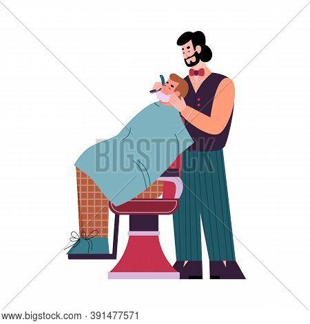 Professional Barber Is Shaving Client. Hygiene And Care In Barber Shop Or Hairdressing Salon For Men
