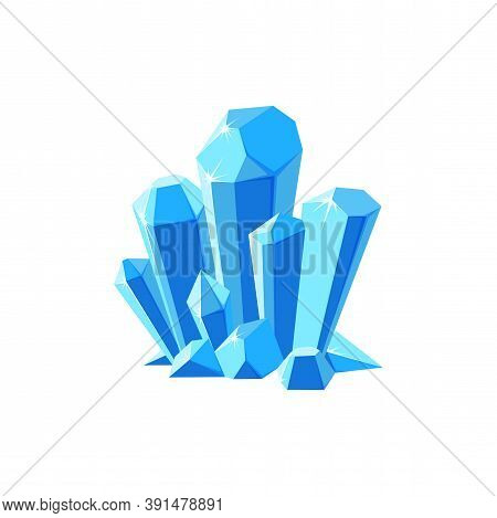 Ice Crystals Or Gem Stones. Shimmering Crystal Druse Made Of Blue Mineral Isolated In White Backgrou