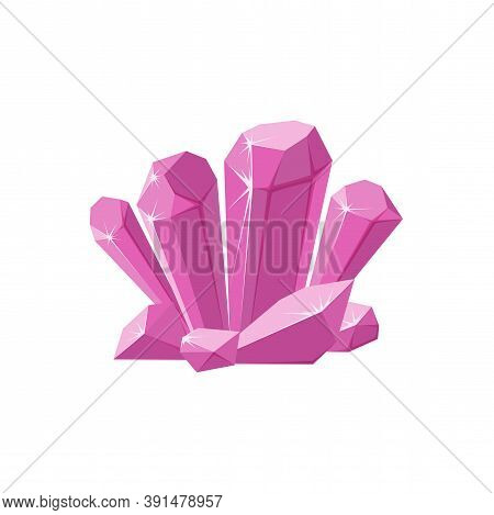 Pink Crystals Or Gemstones. Shimmering Crystal Druse Made Of Amethyst Isolated In White Background.