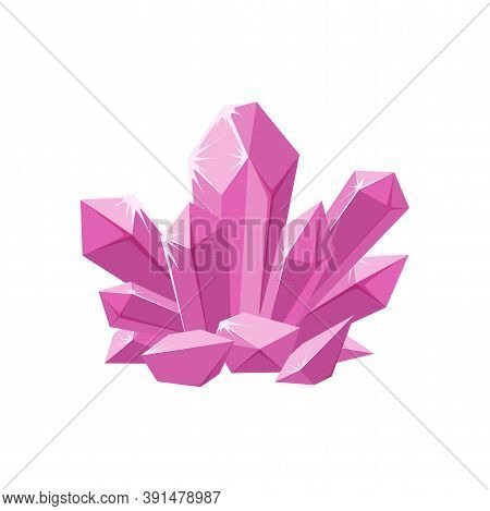 Pink Crystals Or Gemstones. Shimmering Crystal Jewel With Magic Sparkles Isolated In White Backgroun