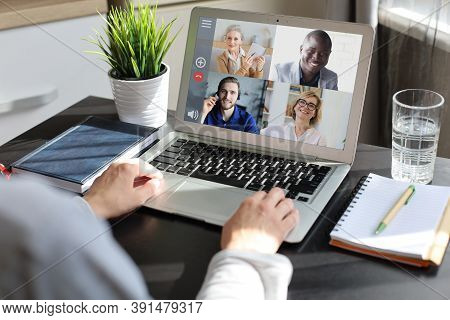Young Woman Works From Home During Self Isolation And Quarantine. Work Online And Stay At Home. Coro