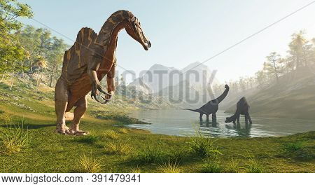 Spinosaurus Near The Lake Hunting Two Brachiosaurus . This Is A 3d Render Illustration .