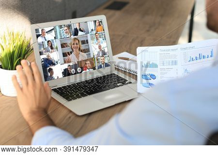 Businessman Speak Talk On Video Call With Colleagues On Online Briefing During Self Isolation And Qu