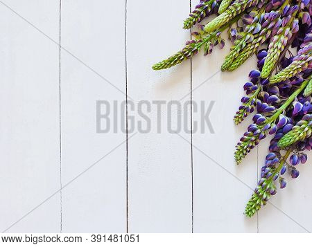 Vertical White Boards And Purple Lupins. Focus Photos On Flowers. Top View, Basis For Invitation, Pr