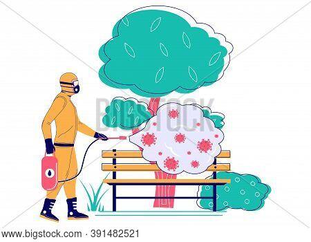 Coronavirus Pandemic. Man In Hazmat Suit Disinfecting City Park Bench, Flat Vector Illustration. Dis