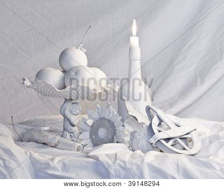 old masters style still life completely in white