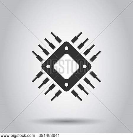 Computer Cpu Icon In Flat Style. Circuit Board Vector Illustration On White Isolated Background. Mot