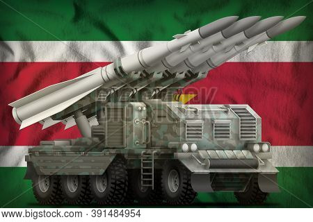 Tactical Short Range Ballistic Missile With Arctic Camouflage On The Suriname Flag Background. 3d Il