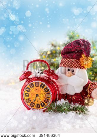 Greeting Card With Santa Claus And Red Alarm Clock.