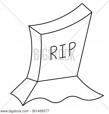 Headstone. Gloomy Sketch. Vector Illustration. Inscription - Rest In Peace. Outlined On An Isolated