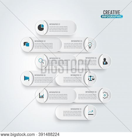 Business Data Visualization. Process Paper Chart. Abstract Elements Of Graph, Diagram With 10 Steps,
