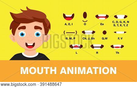 Boy Mouth Animation With Different Expressions In Flat Style Vector Illustration Set. Lip Sync Sound