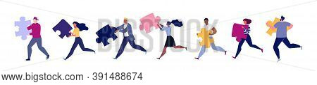 Group Runners Isolated On White Background. Lifestyle Of Business Busy People, Businessmen. Rivalry