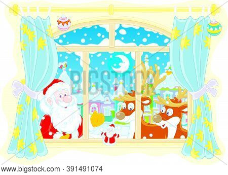 Santa Claus And His Magic Reindeer Peeping Into A Room Through A Window With Curtains On The Snowy N