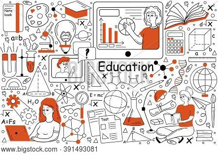 Education Doodle Set. Collection Of Hand Drawn Templates Patterns Of Pupils Students Learning School