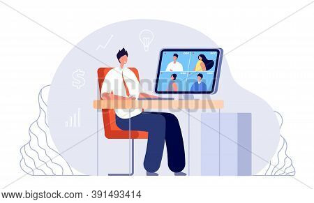 Online Business Meeting. Video Conference, Office Work From Home. Web Study, Internet Networking Or
