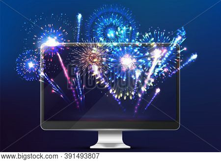 Firework Online. Light On Screen, Realistic Monitor With Festive New Year Salut. Broadcasting Of Cit