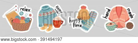 Winter Stickers. Hot Drink, Knitted Elements Cardigan Sweater And Warm Accessories. Seasonal Hobby,