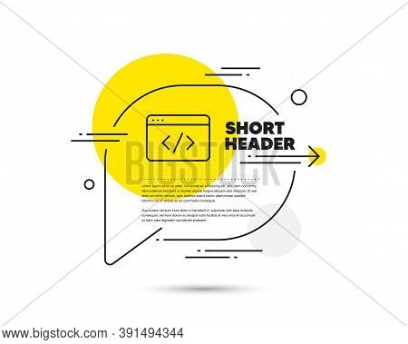 Seo Script Line Icon. Speech Bubble Vector Concept. Web Programming Sign. Traffic Management Symbol.