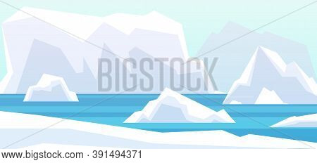 Arctic Landscape. Beauty North Pole, Glacier Iceberg In Water. Winter Polar Mountains Rocks, Antarct