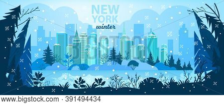 Winter City Christmas Vector Background With Skyscrapers, Pine Trees Silhouette, Snow, Lake.x-mas Ho