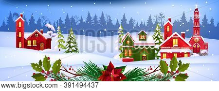 Winter Christmas Vector Landscape With Decorated Village Houses Facades, Pine Trees, Snow, Forest. X