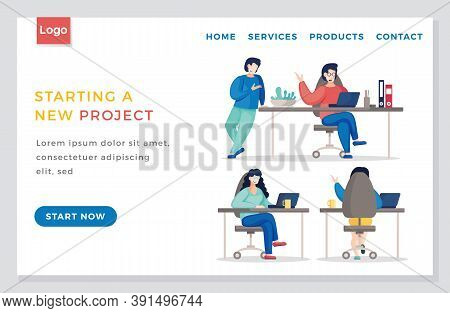 Vector Design Of Landing Page Of Start Up Website In Flat Style. Discussion Of The Company S Busines