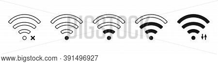 Wifi Level Strenght On White Background. Isolated Network Symbol In Black Color. Outline Wi Fi Picto
