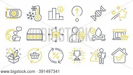 Set Of Business Icons, Such As Chemistry Dna, Mattress, Freezing Symbols. User Idea, Refresh Cart, F