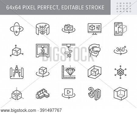 3d Vr Design Line Icons. Vector Illustration Included Icon - Virtual Augmented Reality, Glasses, Ar