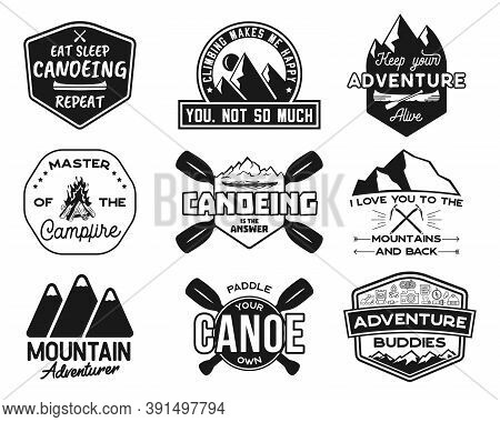 Vintage Canoe Kayaking Logos Patches Set. Hand Drawn Camping Labels Designs. Mountain Expedition, Ca