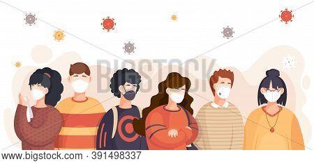 Covid-19, Crowd Of People In Respiratory Medical Mask, Flying Virus Pathogen Around. Spreading Virus